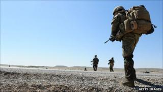 British troops on patrol in Gereshk, Afghanistan