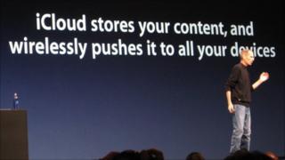 Steve Jobs introducing iCloud