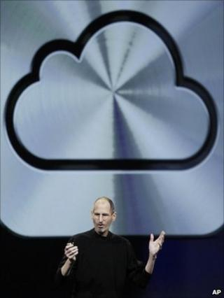 Steve Jobs and iCloud symbol