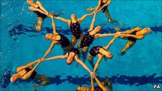 Great Britain's Olympic synchronised swimming squad in action