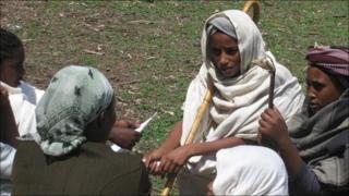 Girls from Berhane Hewan enacting a drama
