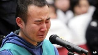 Chinese student Yao Jiaxin - who has been executed for murdering a woman he hit in a road accident - is pictured during his trial at Xian Intermediate Peoples Court in Xian city, north-west Chinas Shaanxi province, on 23 March 2011