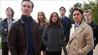 Michael Fassbender and James McAvoy with other cast members of X-Men: First Class