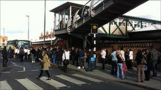 Queues outside Nottingham station