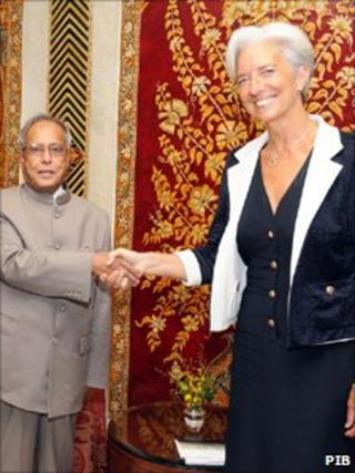 Pranab Mukherjee and Christine Lagard