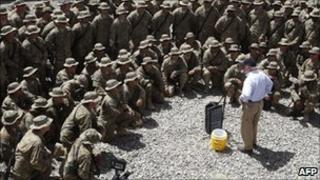 US Secretary of Defence Robert Gates speaks to troops in Afghanistan on 6 June 2011