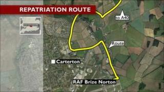 Map of Carterton repatriations route