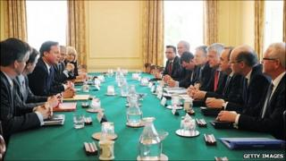 Carwyn Jones in Downing Street meeting