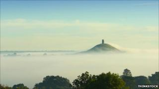 Mist at Glastonbury Tor