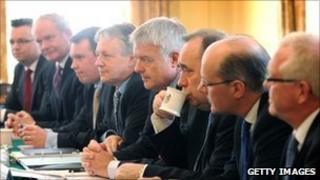 Members of the Joint Ministerial Committee attend a meeting chaired by Prime Minister David Cameron at 10 Downing Street