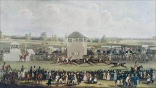 A race at Ascot in Berkshire, 1820. Drawn and engraved by James Pollard.