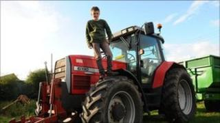 Tom Phillips on a tractor