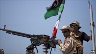 Rebels fighters in Benghazi