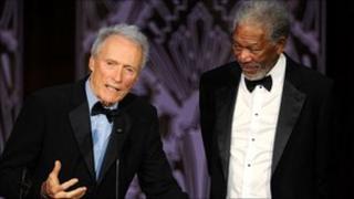 Morgan Freeman (r) with Clint Eastwood