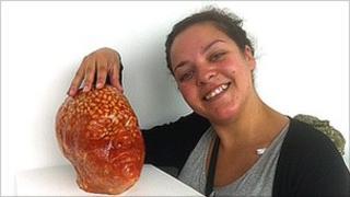Hayley Shum with baked bean head