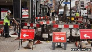 Roadworks being carried out in London