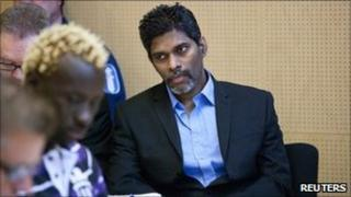 Singaporean Wilson Maj Perumal (centre) at Lapland district court on 9 June 2011