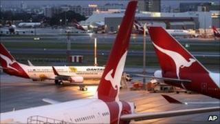 Qantas aircraft at Sydney's international airport - 12 June 2011