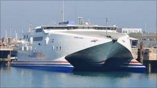 Condor Vitesse docked in St Peter Port Harbour