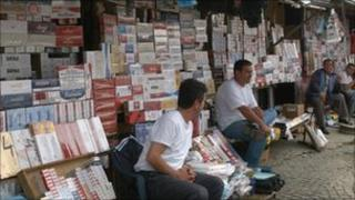 Cigarettes for sale at a street market in Pristina (archive shot)