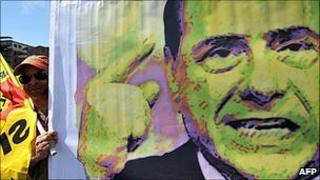 Berlusconi on a campaign poster