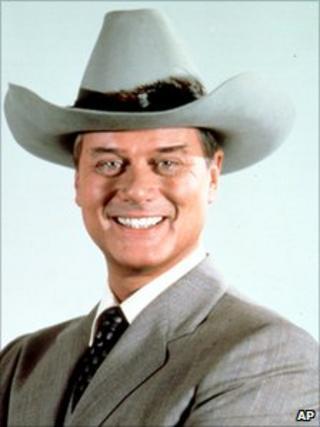 Larry Hagman wearing a stetson