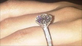 Five carat diamond and platinum ring worth about £70,000