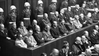Rudolf Hess at Nuremberg trials