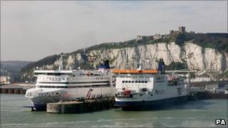 Ferries berthed at the Port of Dover