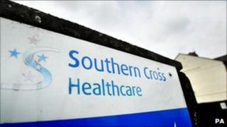 A sign outside a Southern Cross care home