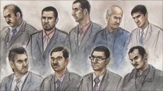 Court artist's drawing of the nine defendants