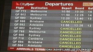 The departures board at Perth Airport in Western Australia shows a string of cancellations