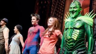 (From right to left) Patrick Page, Jennifer Damiano and Reeve Carney