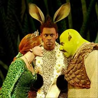 Amanda Holden, Richard Blackwood and Nigel Lindsay in Shrek the Musical