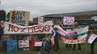 Parents and pupils protesting over plans to merge Ifton Heath Primary