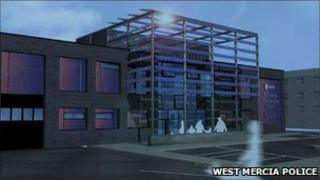 Artist's impression of new police and fire station in Bromsgrove