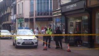 The crime scene in Tavern Street, Ipswich