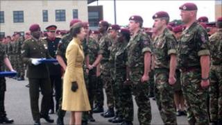 The Princess Royal meets troops from 13 Air Assault Support Regiment