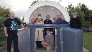 Members of the Usk astronomical society at the opening of the observatory