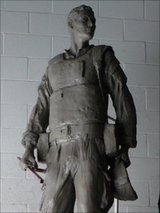 The unfinished Irish Guards statue in June 2010