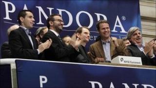 Pandora executives ringing the New York opening bell