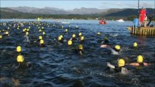 Thousands of swimmers take to Windermere