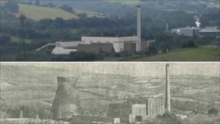 Graphic of how the new power plant would look with the old Llynfi Power Station pictured below before the cooling towers were demolished.