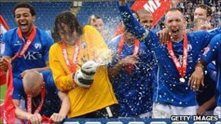 Chesterfield FC celebrating promotion