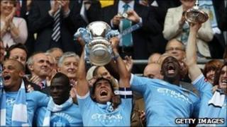Manchester City after their FA Cup final win on 14 May