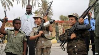 Libyan children with rifles (archive shot)