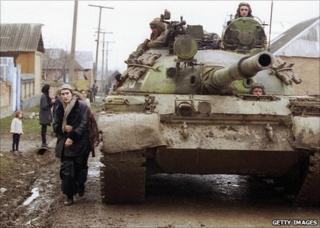 An unidentified Russian tank in Chechnya in 2000