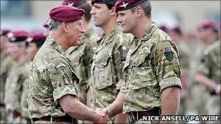 Prince Charles with members of the Parachute Regiment at Merville Barracks