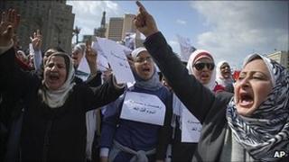 Women protesting against Hosni Mubarak in Cairo. 31 Jan 2011