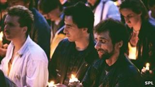 A candlelit vigil for AIDS victims in London